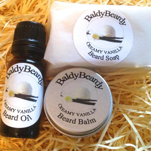 Creamy Vanilla beard oil, balm and soap combination package by BaldyBeardy