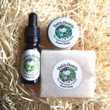 Tea Tree and Eucalyptus beard oil, balm and soap combination package by BaldyBeardy