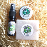 Tea Tree and Eucalyptus beard oil, balm and soap combination package by BaldyBeardy with atomiser spray lid