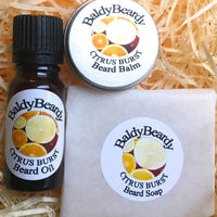 Citrus Burst beard oil, balm and soap combination package by BaldyBeardy with dropper lid