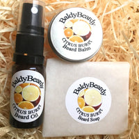 Citrus Burst beard oil, balm and soap combination package by BaldyBeardy with atomiser spray lid