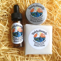Tangerine Grapefruit and Juniper Berry beard oil, balm and soap combination pack by BaldyBeardy with pipette lid