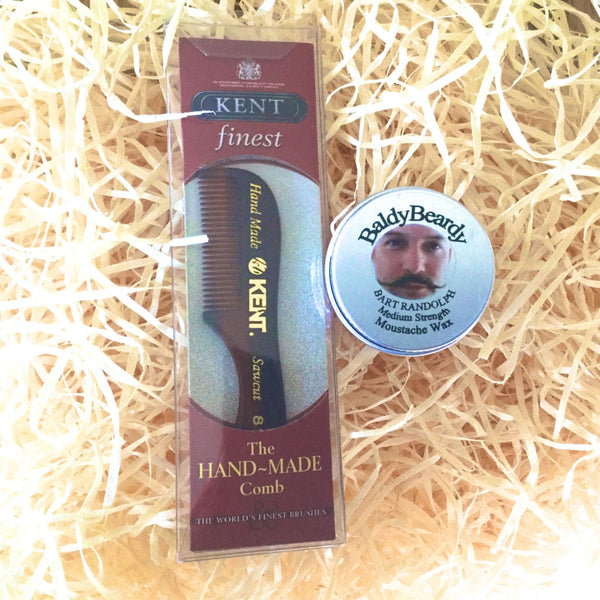 Moustache wax and Kent moustache comb combination package by BaldyBeardy