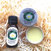 Chamomile beard balm and oil combination pack by BaldyBeardy with dropper lid