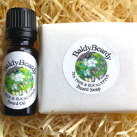 Tea Tree and Eucalyptus beard oil and soap combination package by BaldyBeardy