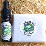 Tea Tree and Eucalyptus beard oil and soap combination package by BaldyBeardy with pipette lid