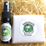 Tea Tree and Eucalyptus beard oil and soap combination package by BaldyBeardy with atomiser spray lid
