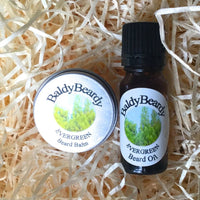Evergreen beard oil and balm combination pack by BaldyBeardy with dropper lid