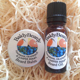 Tangerine, Grapefruit and Juniper Berry beard oil and balm combination pack by BaldyBeardy