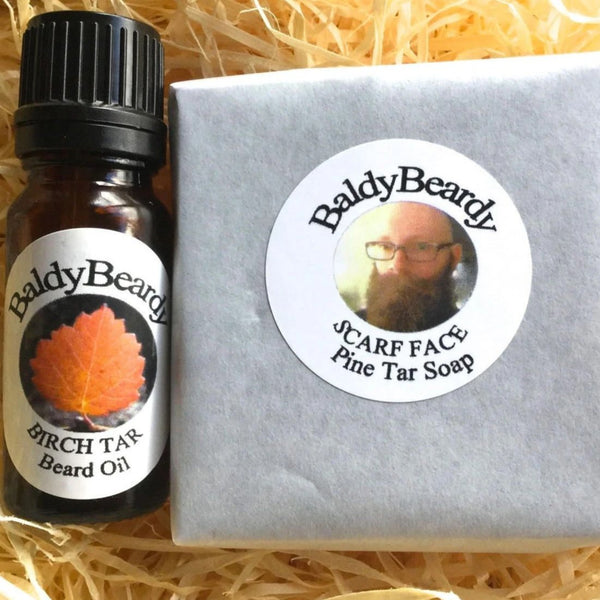 Pine and Birch Tar beard oil and soap combination pack by BaldyBeardy