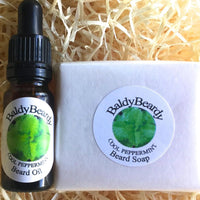 Cool Peppermint beard oil and soap combination package by BaldyBeardy with pipette lid