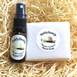 Creamy Vanilla beard oil and soap combination package by BaldyBeardy with atomiser spray lid