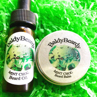 Mint Choc beard oil and balm combination pack by BaldyBeardy with pipette lid