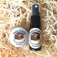 Brandy Chocolate beard oil and balm combination pack by BaldyBeardy with atomiser spray lid