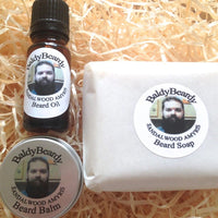 Sandalwood Amyris beard oil, balm and soap combination package by BaldyBeardy