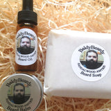 Sandalwood Amyris beard oil, balm and soap combination package by BaldyBeardy with pipette lid