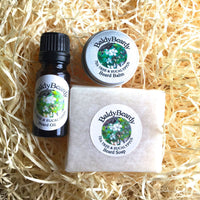 Tea Tree and Eucalyptus beard oil, balm and soap combination package by BaldyBeardy with dropper lid
