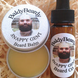 Snappy Gent beard oil and balm combination pack by BaldyBeardy with pipette lid