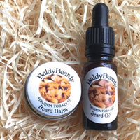 Virginia Tobacco beard oil and balm combination pack by BaldyBeardy with pipette lid
