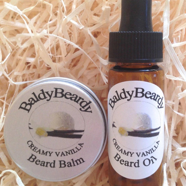 Creamy Vanilla beard oil and balm combination pack by BaldyBeardy