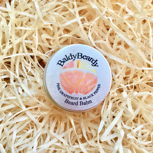Pink Grapefruit and Black Pepper beard balm by BaldyBeardy