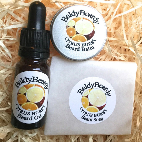 Citrus Burst beard oil, balm and soap combination package by BaldyBeardy with pipette lid