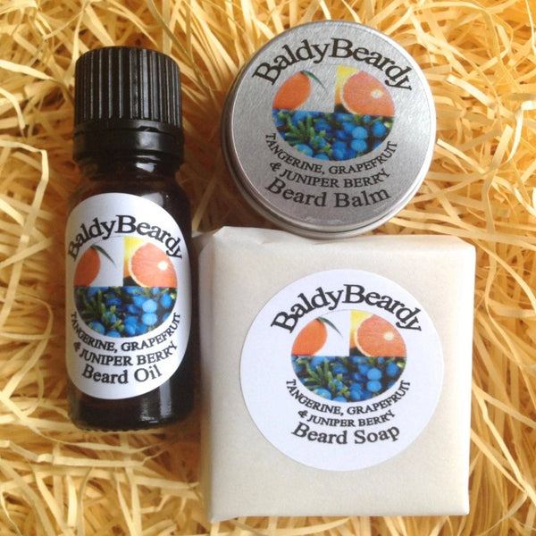 Tangerine Grapefruit and Juniper Berry beard oil, balm and soap combination pack by BaldyBeardy