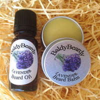 Lavender beard oil and balm combination pack by BaldyBeardy with dropper lid