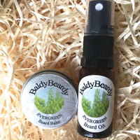 Evergreen beard oil and balm combination pack by BaldyBeardy with atomiser lid