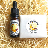 Citrus Burst beard oil and soap combination pack by BaldyBeardy with pipette lid