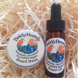 Tangerine, Grapefruit and Juniper Berry beard oil and balm combination pack by BaldyBeardy with pipette lid