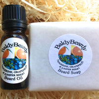 Tangerine, Grapefruit and Juniper Berry beard oil and soap combination package by BaldyBeardy