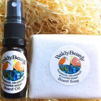 Tangerine, Grapefruit and Juniper Berry beard oil and soap combination package by BaldyBeardy with atomiser spray lid
