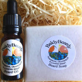 Tangerine, Grapefruit and Juniper Berry beard oil and soap combination package by BaldyBeardy with pipette lid