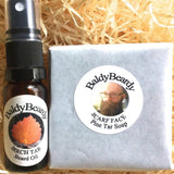 Pine and Birch Tar beard oil and soap combination pack by BaldyBeardy with atomiser spray lid