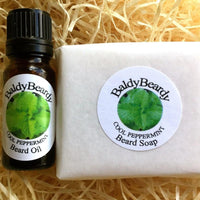 Cool Peppermint beard oil and soap combination package by BaldyBeardy