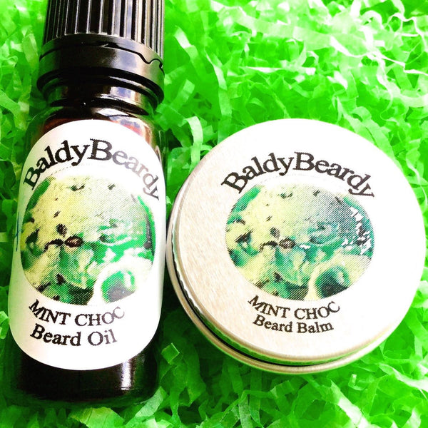 Mint Choc beard oil and balm combination pack by BaldyBeardy