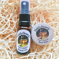 Oaky Cognac beard oil and balm combination pack by BaldyBeardy with atomiser spray lid
