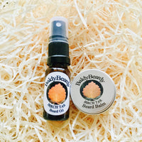 Birch Tar beard oil and balm combination pack by BaldyBeardy with atomiser spray lid