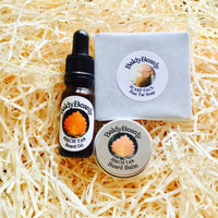 Pine and Birch Tar beard oil, balm and soap triple combination package by BaldyBeardy with pipette lid