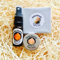 Pine and Birch Tar beard oil, balm and soap triple combination package by BaldyBeardy with atomiser spray lid
