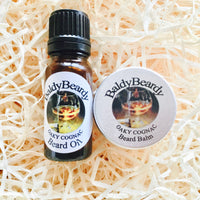 Oaky Cognac beard oil and balm combination pack by BaldyBeardy