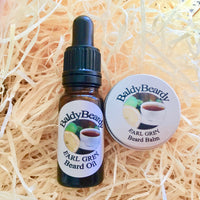 Earl Grey beard oil and balm combination pack by BaldyBeardy with pipette lid