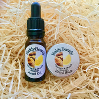Cinnamon and Orange Delight beard oil and balm combination pack by BaldyBeardy with pipette lid