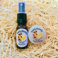 Cinnamon and Orange Delight beard oil and balm combination pack by BaldyBeardy with atomiser spray lid