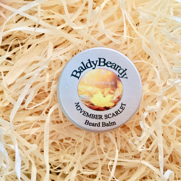 November Scarlet beard balm by BaldyBeardy