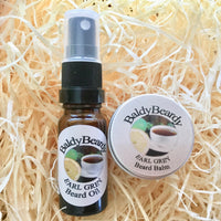 Earl Grey beard oil and balm combination pack by BaldyBeardy with atomiser spray lid