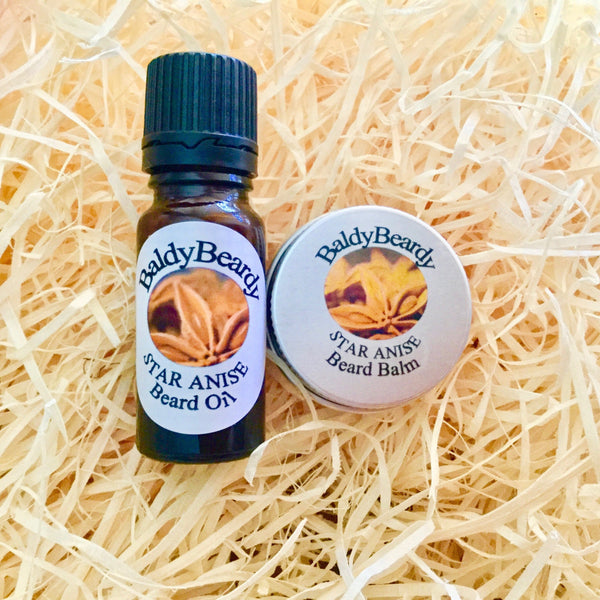 Star Anise beard oil and balm combination pack by BaldyBeardy