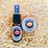 Calm and Tranquility beard oil and balm combination pack by BaldyBeardy with atomiser lid