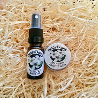 Manuka beard balm and oil combination pack by BaldyBeardy with atomiser spray lid